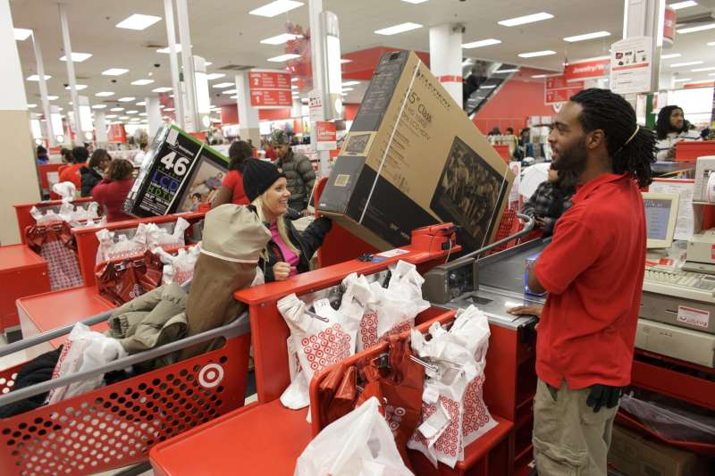 Shoppers fill a Target store on Black Friday in Chicago.