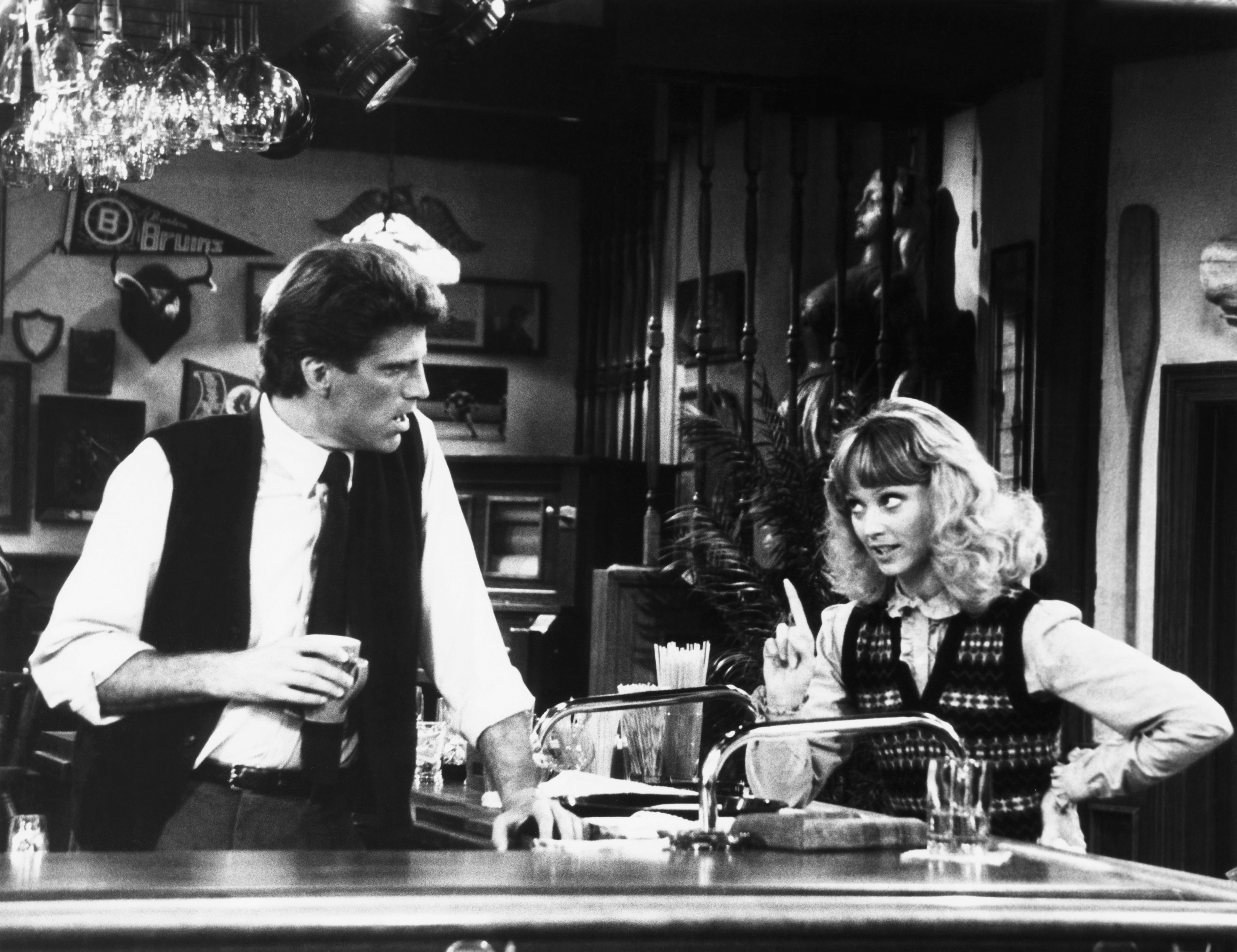 CHEERS, from left, Ted Danson, Shelley Long, 'The Coach Returns to Action,' aired November 25,