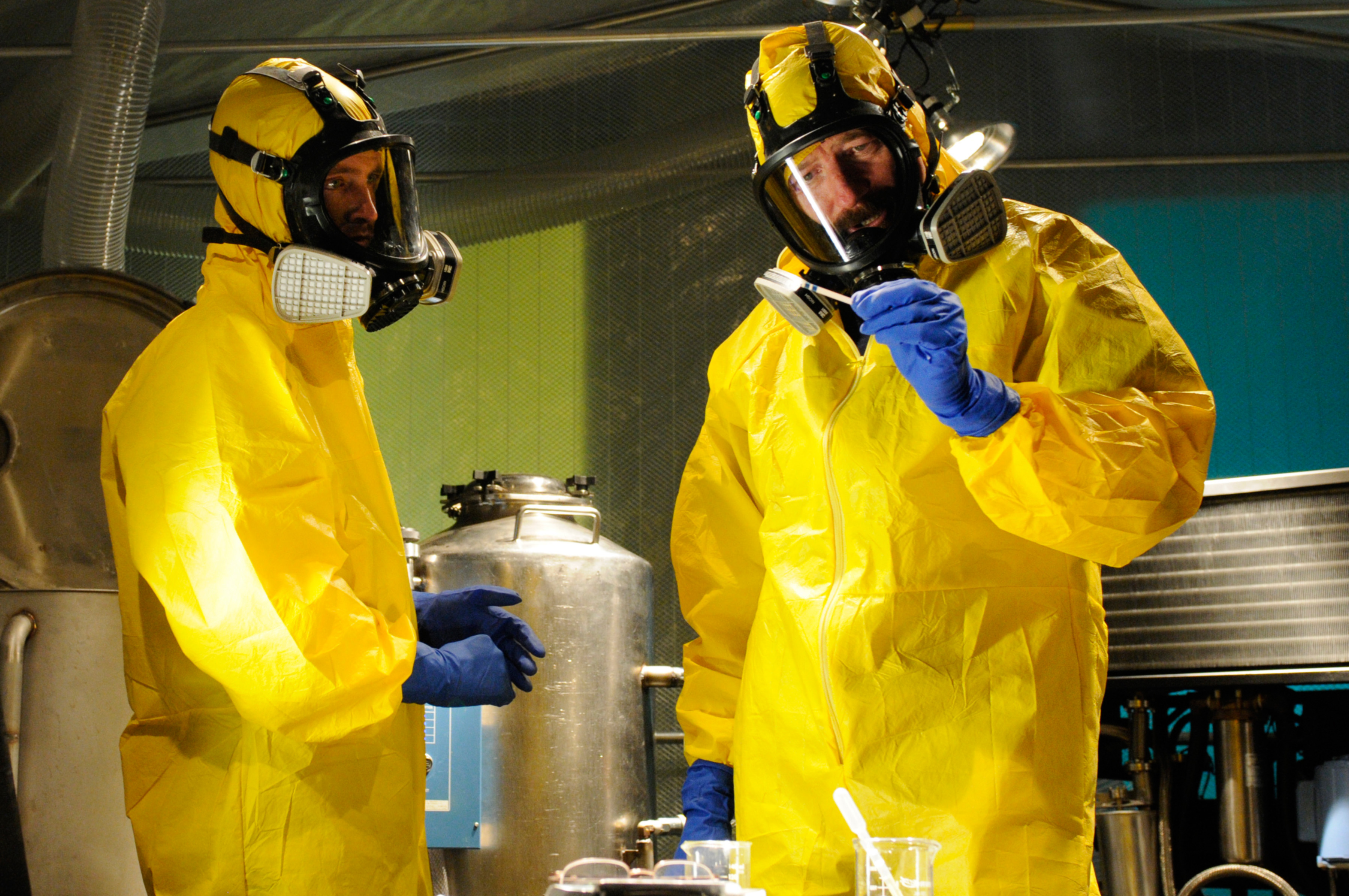BREAKING BAD, (from left): Aaron Paul, Bryan Cranston, 'Hazard Pay', (Season 5, ep. 503, aired July