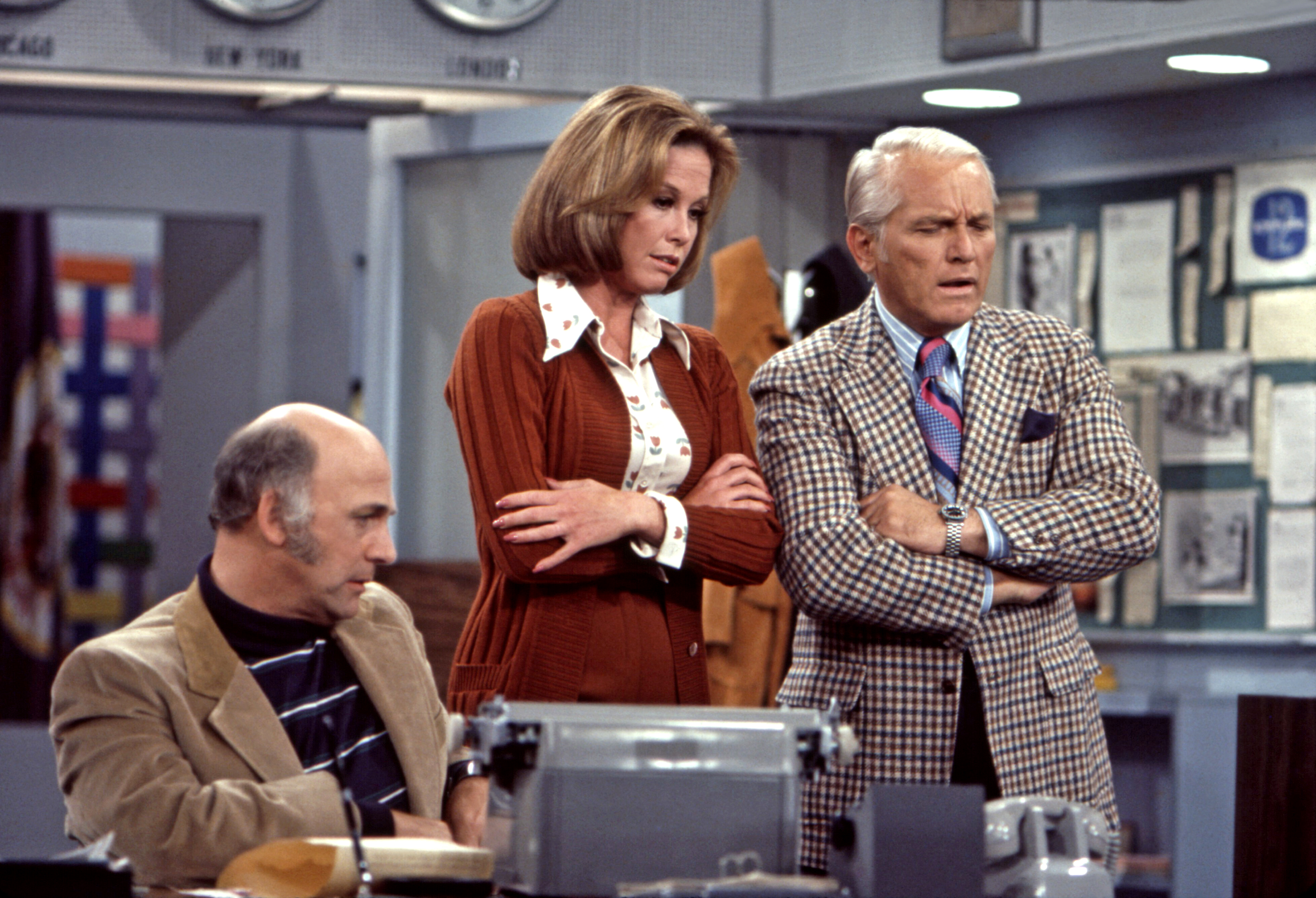 Gavin MacLeod, Mary Tyler Moore and Ted Knight rehearse scene from the Mary Tyler Moore Show, Sound