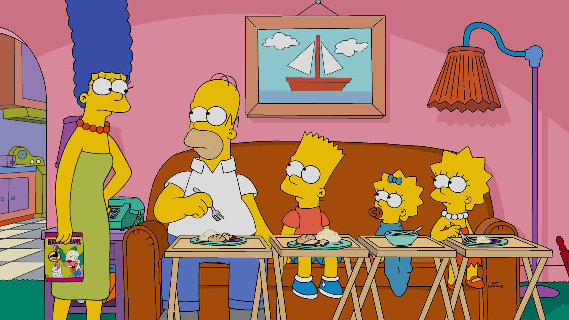 THE SIMPSONS, (from left): Marge Simpson, Homer Simpson, Bart Simpson, Maggie Simpson, Lisa