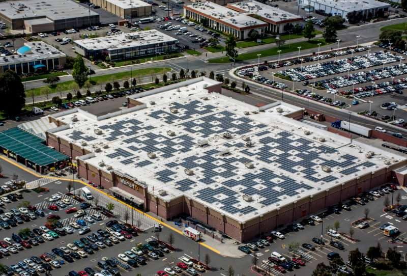 A Walmart store with solar panels in northern California.