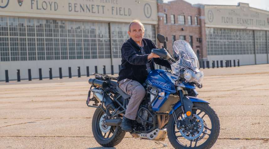 George Perlstein at Floyd Bennett Field, where he practiced riding after his motorcycle accident.