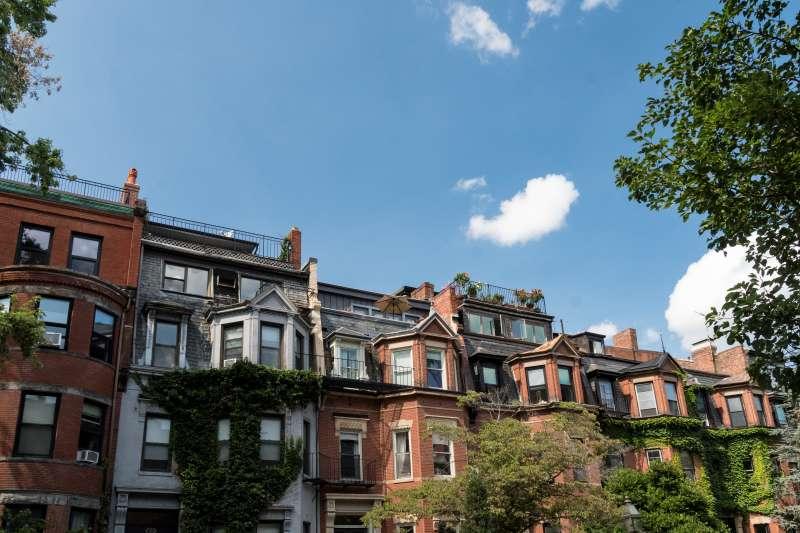 Row houses in the old  neighborhood of  Boston, Massachusetts.