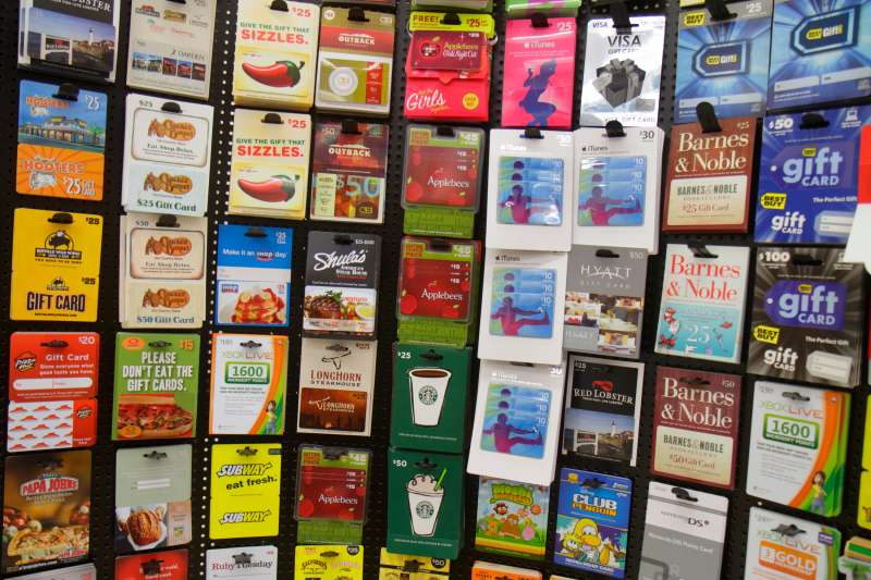 Gift cards for sale in Walgreens.