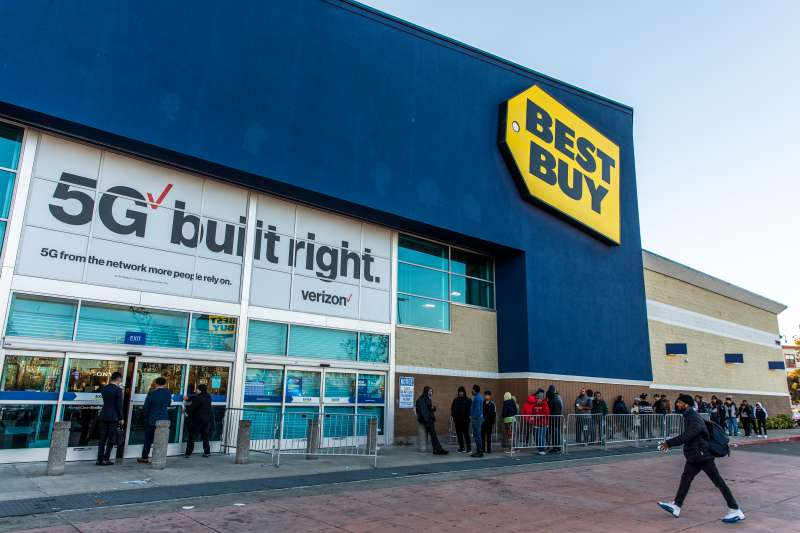 Black Friday shoppers waiting outside a Best Buy store.
