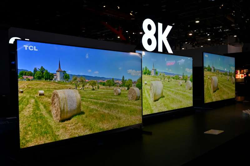 TVs displayed at the TCL booth at CES 2020 technology conference at the Las Vegas Convention Center on January 7, 2020.