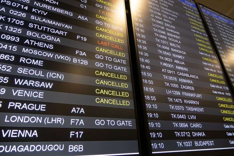 The departures board showing cancelled flights at the Istanbul IST Airport in Turkey, due to the outbreak of Coronavirus Covid-19, on March 18, 2020.