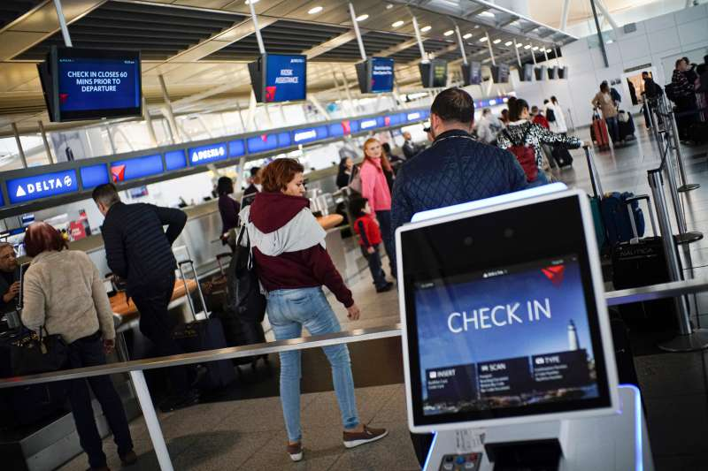 Delta Air Lines kiosks inside JFK International Airport in New York, on March 03, 2020.