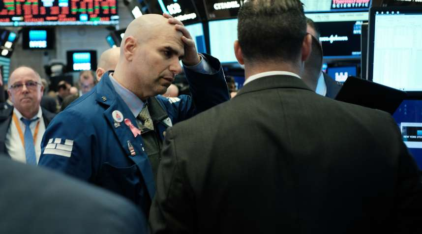 New York, N.Y., March 9: Traders work on the floor of the New York Stock Exchange (NYSE).