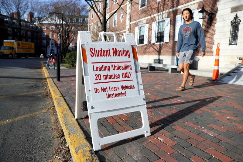 On March 12, 2020 in Cambridge, Massachusetts, students have been asked to move out of their dorms by March 15 due to the coronavirus risk.