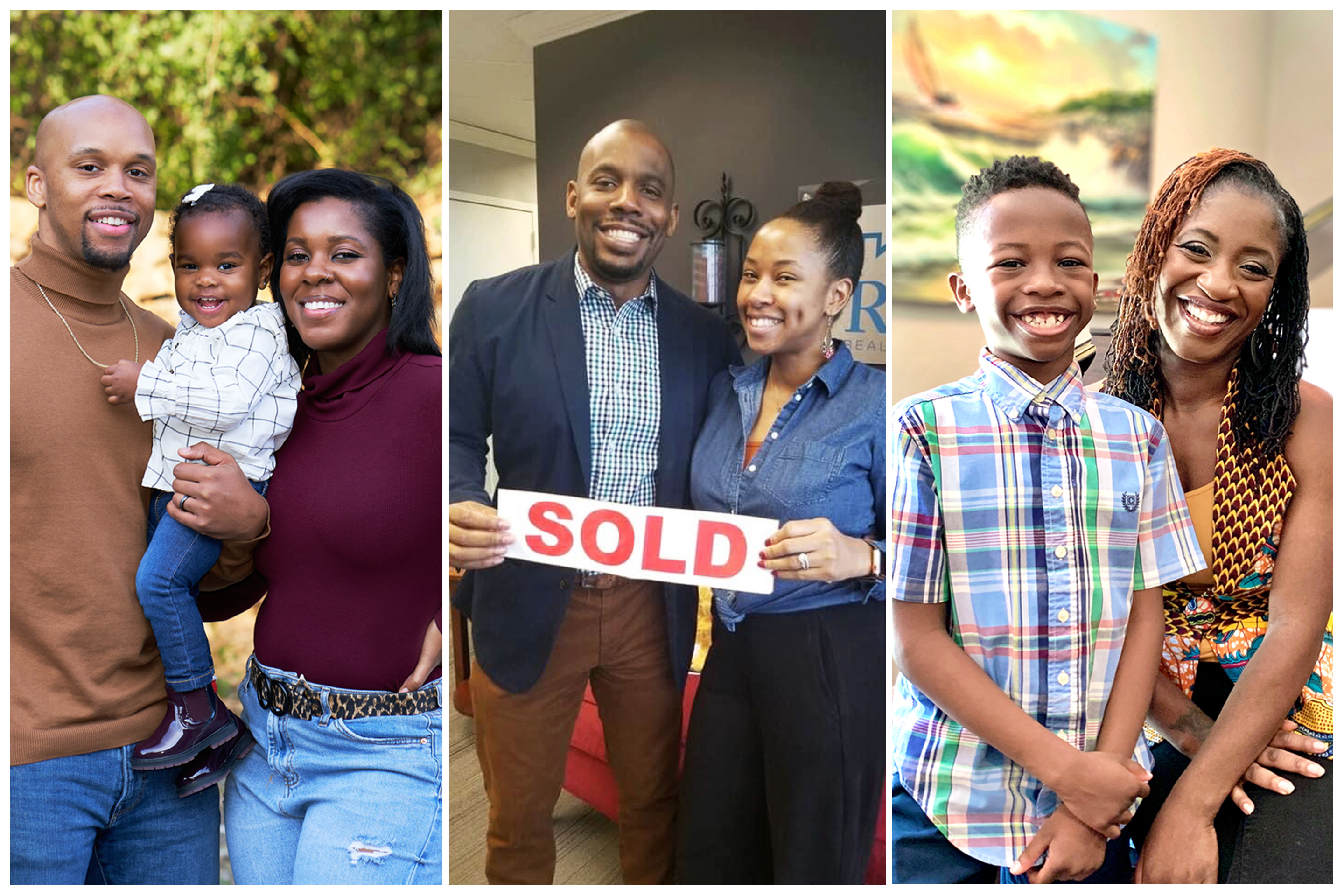 From left: Cameron and Kescheler Powell with their two-year-old daughter; Jamar and Cherisse Hudson the day they bought their home; Such Charles with her nine-year-old son.
