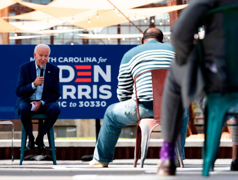 Democratic presidential candidate Joe Biden speaks at in Charlotte, North Carolina, on September 23, 2020.