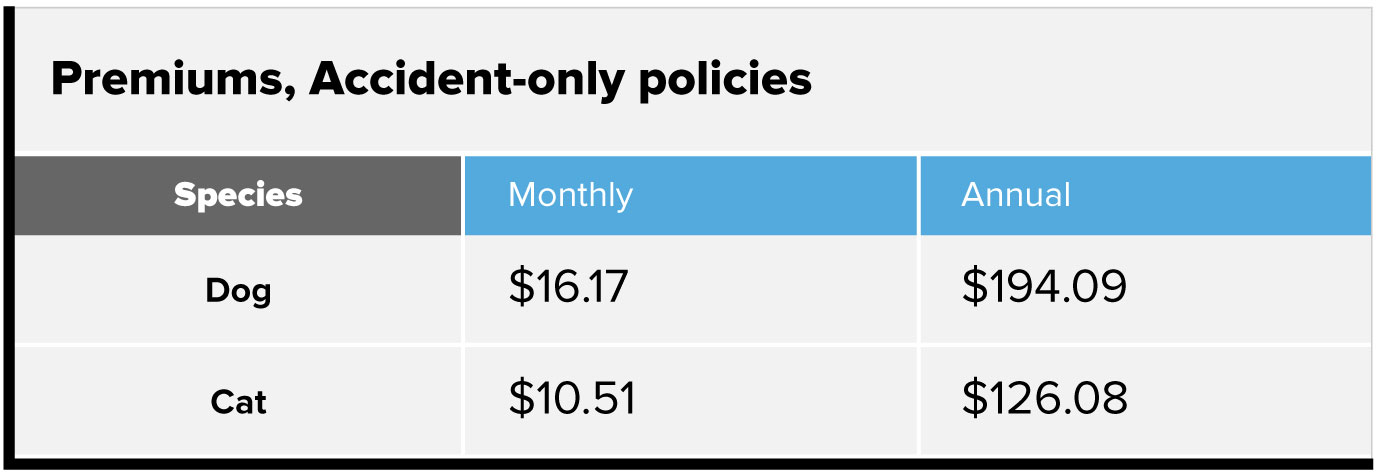Premiums, accident-only policies chart. Dog, $16.17 monthly, $194.09 annually. Cat, $10.51 monthly, $126.08 annually.