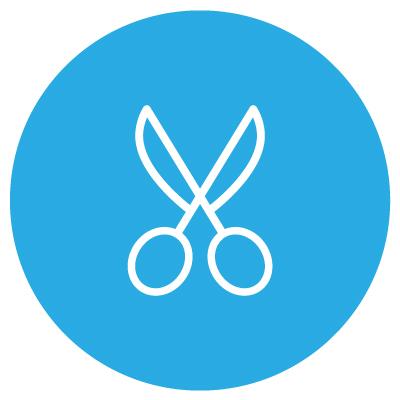 image of open scissors