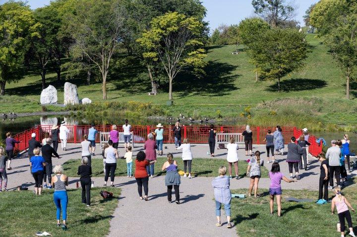 Tai Chi class at the Minnesota Landscape Arboretum in Chanhassen, Minnesota