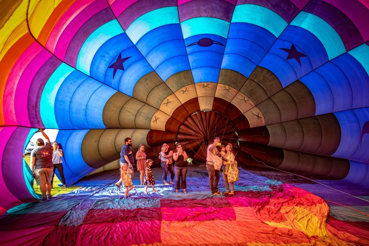 A family takes a selfie from inside a hot air ballon in Hendersonville, Tennessee