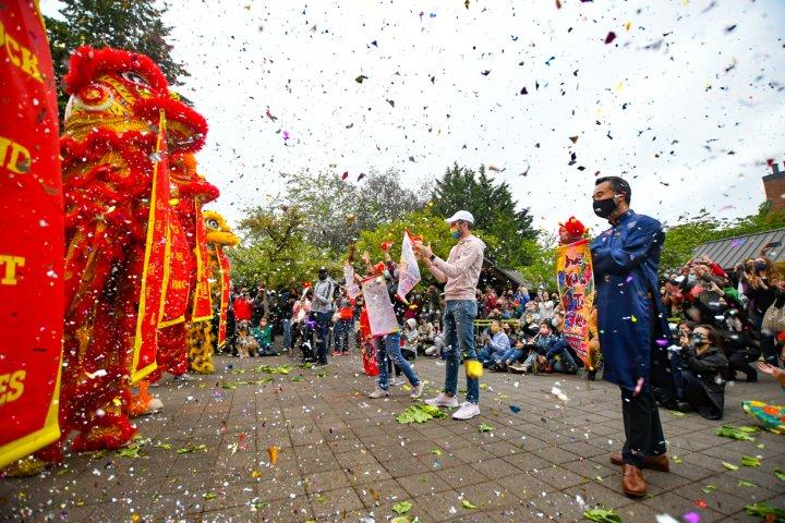 People gather to celebrate Chinese New Year at Lake Oswego Oregon