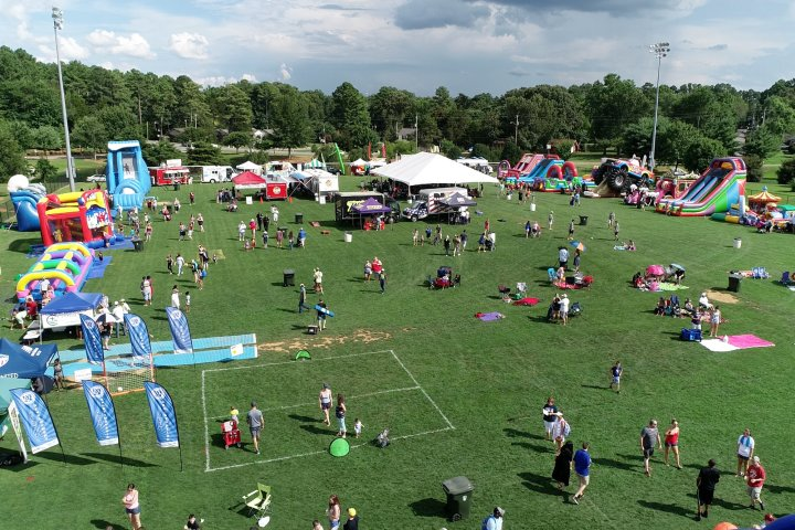 An aerial view of the 4th. of July fair at a local park in Madison Alabama