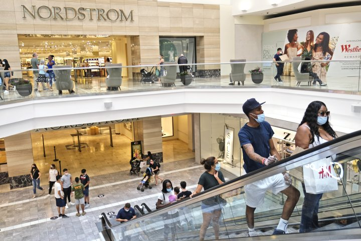 Shoppers in Garden State Plaza in Paramus, New Jersey