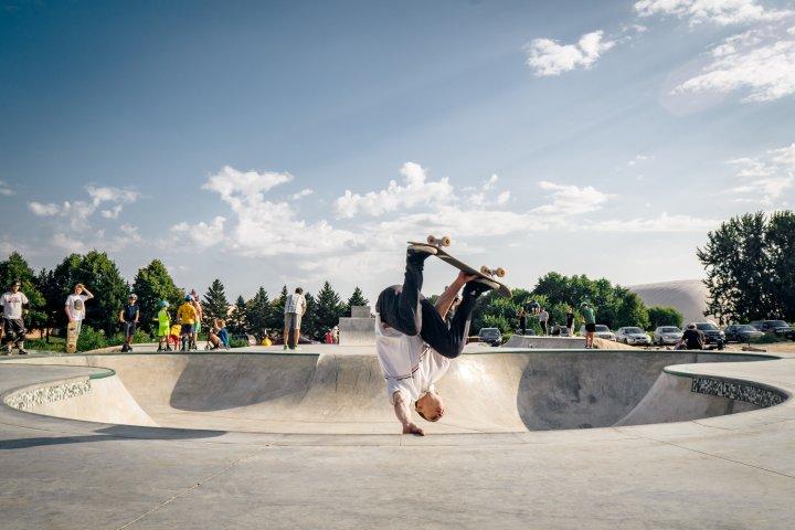 A skater performs an aerial trick at Rosemount Skate Park in Minnesota