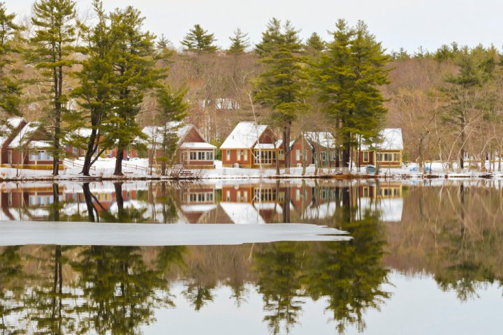 A beautiful view of houses covered in snow in Westford Massachusetts